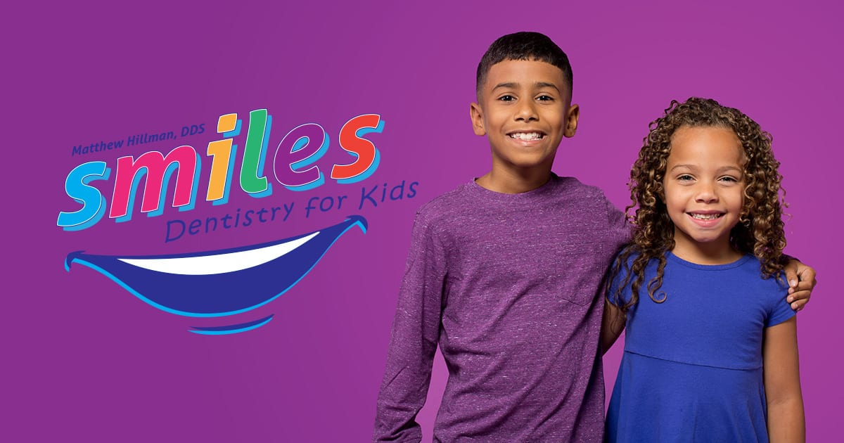 smiles dentistry for kids logo and kids on purple background