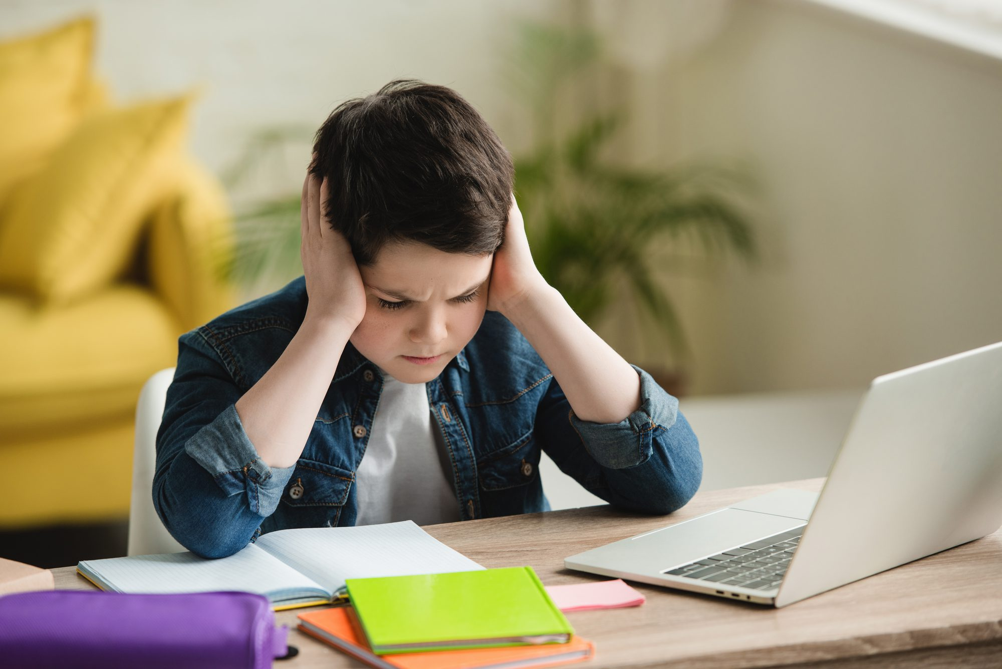 young boy sitting at desk with laptop, notecards, and book